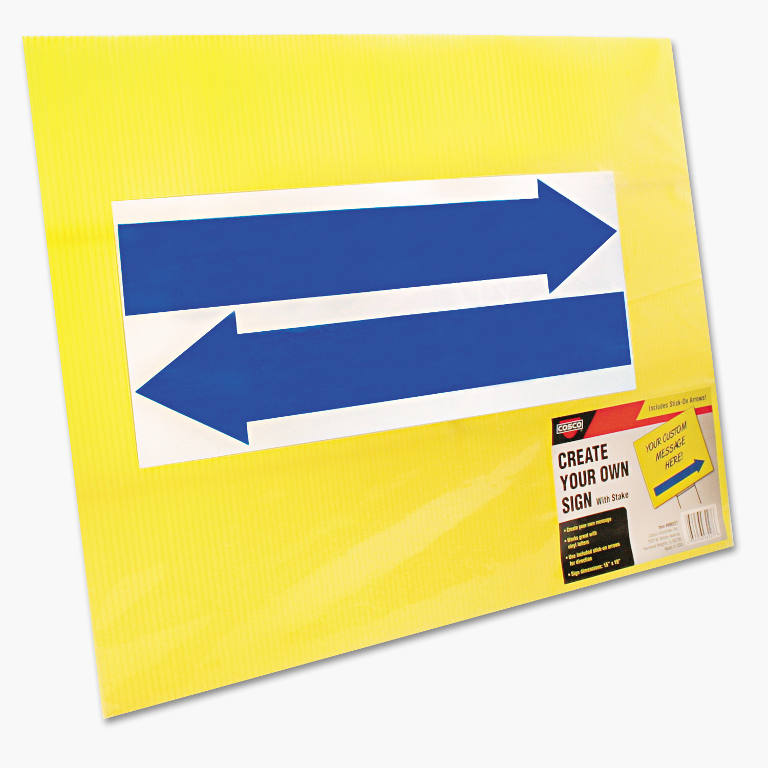 COSCO Stake Sign, Blank, Yellow, Includes Directional Arrows, 15 x 19 -COS098227