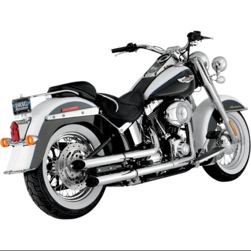 "Python 2.5"" Slash-Cut Slip-On Mufflers Chrome Fits 07-14 Harley-Davidson FLSTN Softail Deluxe"