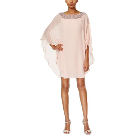 X by Xscape Womens Petites Embellished Sheer Overlay Shift Dress Sheer Overlay Dress