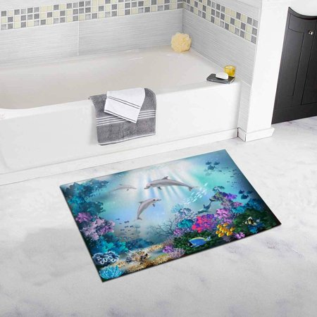 RYLABLUE The Underwater World with Dolphins and Plants Bath Rug Bathroom Mat Doormat 30x18 inches - image 1 de 2