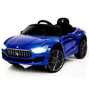 New 12V Maserati Ghibli Ride on electric power car For Kids Remote Control MP3 LED lights Opening doors - Blue