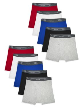 Fruit of the Loom Boys Assorted Cotton Boxer Briefs, 10 Pack Sizes 6/8 - 18/20