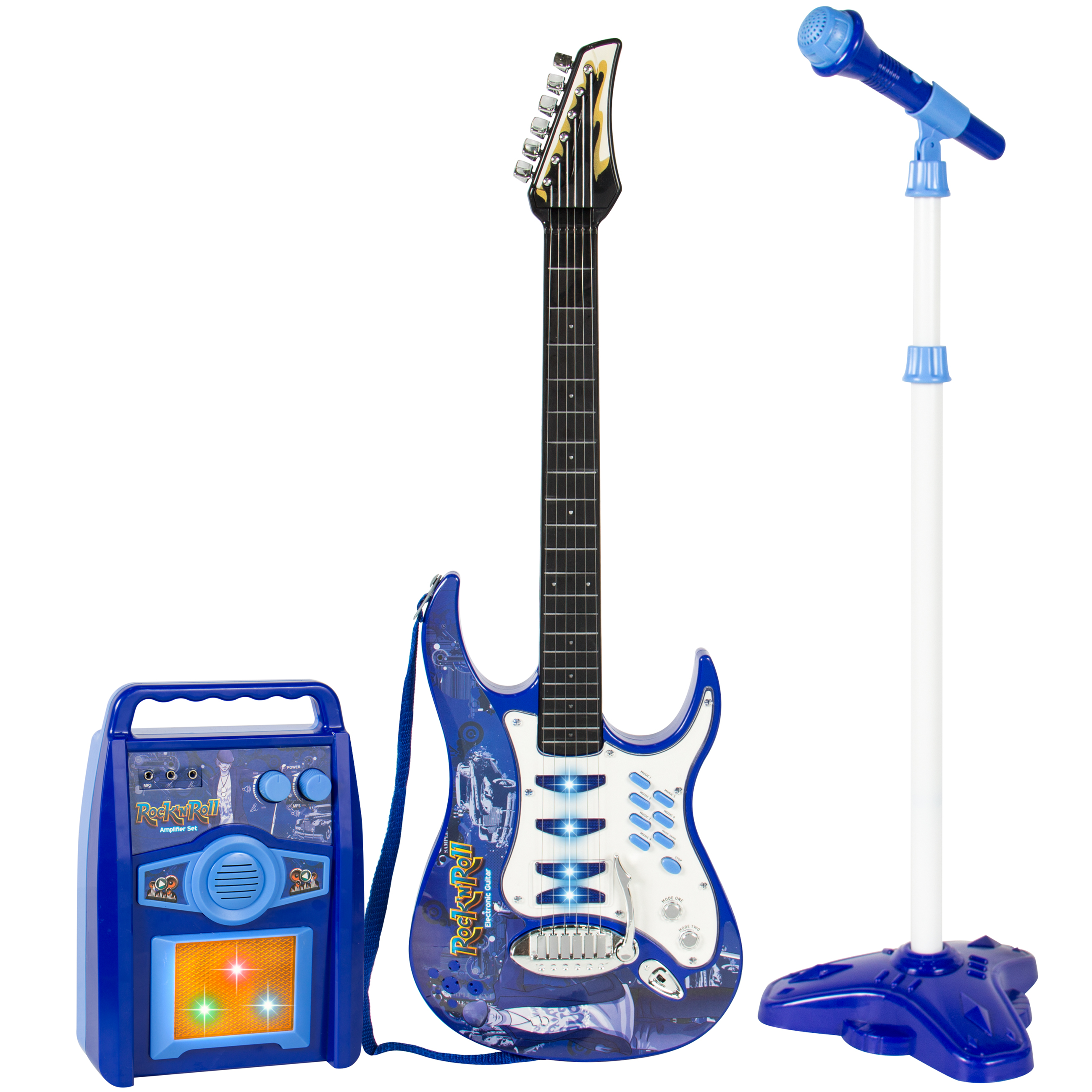 Best Choice Products Kids Electric Musical Guitar Play Set w  Microphone, Aux Cord, Amp... by Best Choice Products