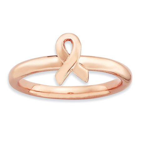 Sterling Silver Stackable Expressions Rose Gold Awareness Ribbon