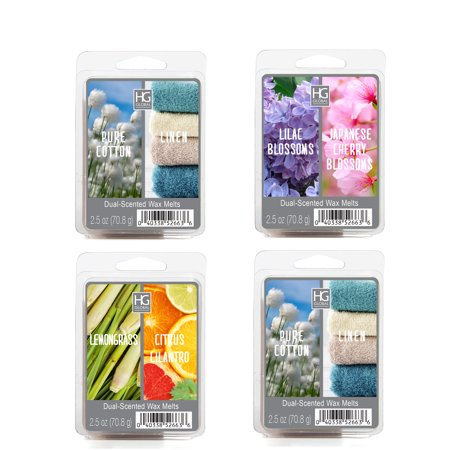 Hosley 4 Pack of 2.5oz Dual Wax Cubes / Melts - JAMINE & GARDENIA, LILAC BLOSSOMS & JAPANESE CHERRY BLOSSOMS, LEMONGRASS & CITRUS CILANTRO, PURE COTTON & LINEN - Pure Vegetable Wax