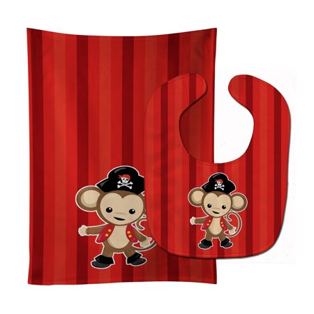 - Pirate Monkey Red #2 Baby Bib & Burp Cloth