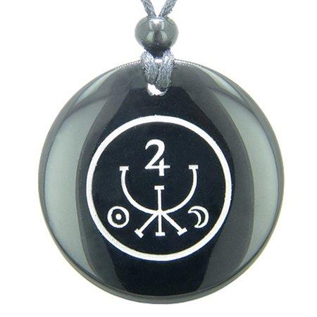 - Universe Ancient Money Sigil Talisman Black Agate Magic Pendant Necklace
