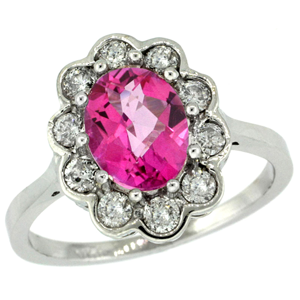 14k White Gold Halo Engagement Pink Topaz Engagement Ring Diamond ...