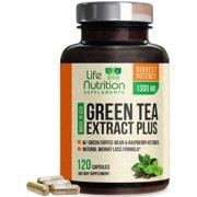 Life Nutrition Green Tea Extract 98% with EGCG, Green Coffee & Raspberry Ketones, 1300mg, 120 Ct.