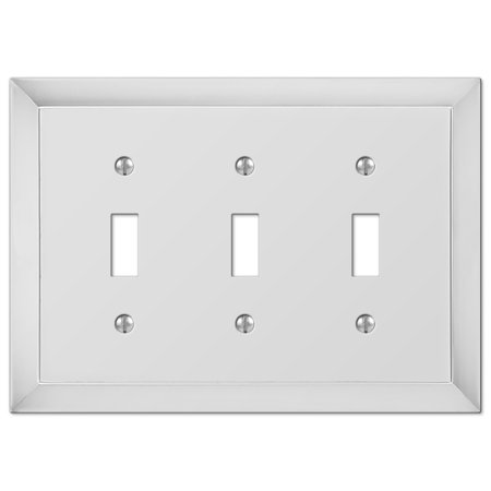 Amerelle 61TTTCH Studio Style 3 Toggle Wallplate, Chrome