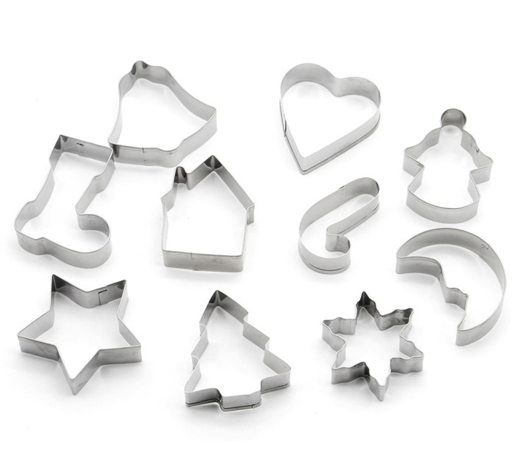 10Pcs Christmas Cookie Cutter, Outgeek Christmas Cookie Cutter Stainless Steel Baking Mold for Cake Biscuit... by Outgeek