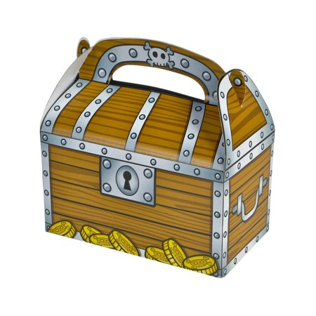 - Set of 12 Child's Pirate Party Accessory Loot Bag Treasure Chest Candy Boxes