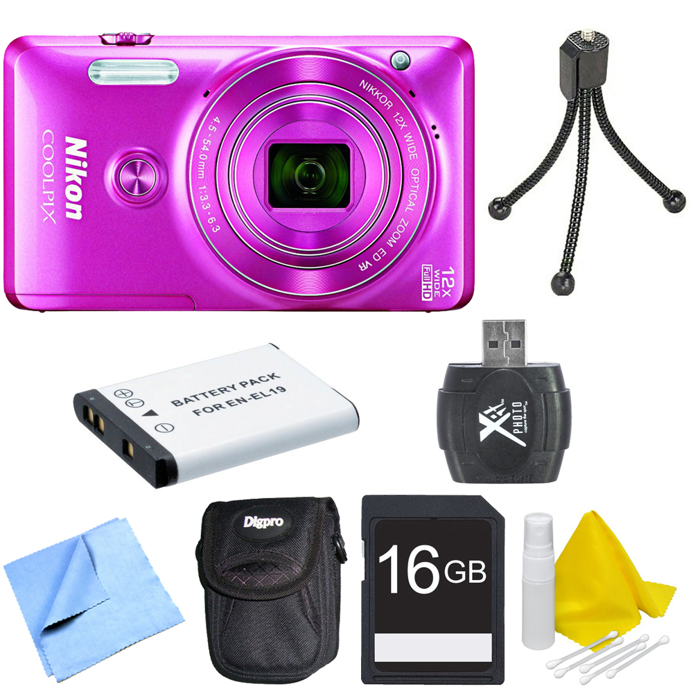 Nikon COOLPIX S6900 16MP 1080p HD Video Digital Camera Pink Deluxe Kit with Camera, Extra Battery, Compact Carrying Case, 16GB Memory Card, Card Reader, Mini Tripod, Lens Cleaning Kit, and Micro Fiber