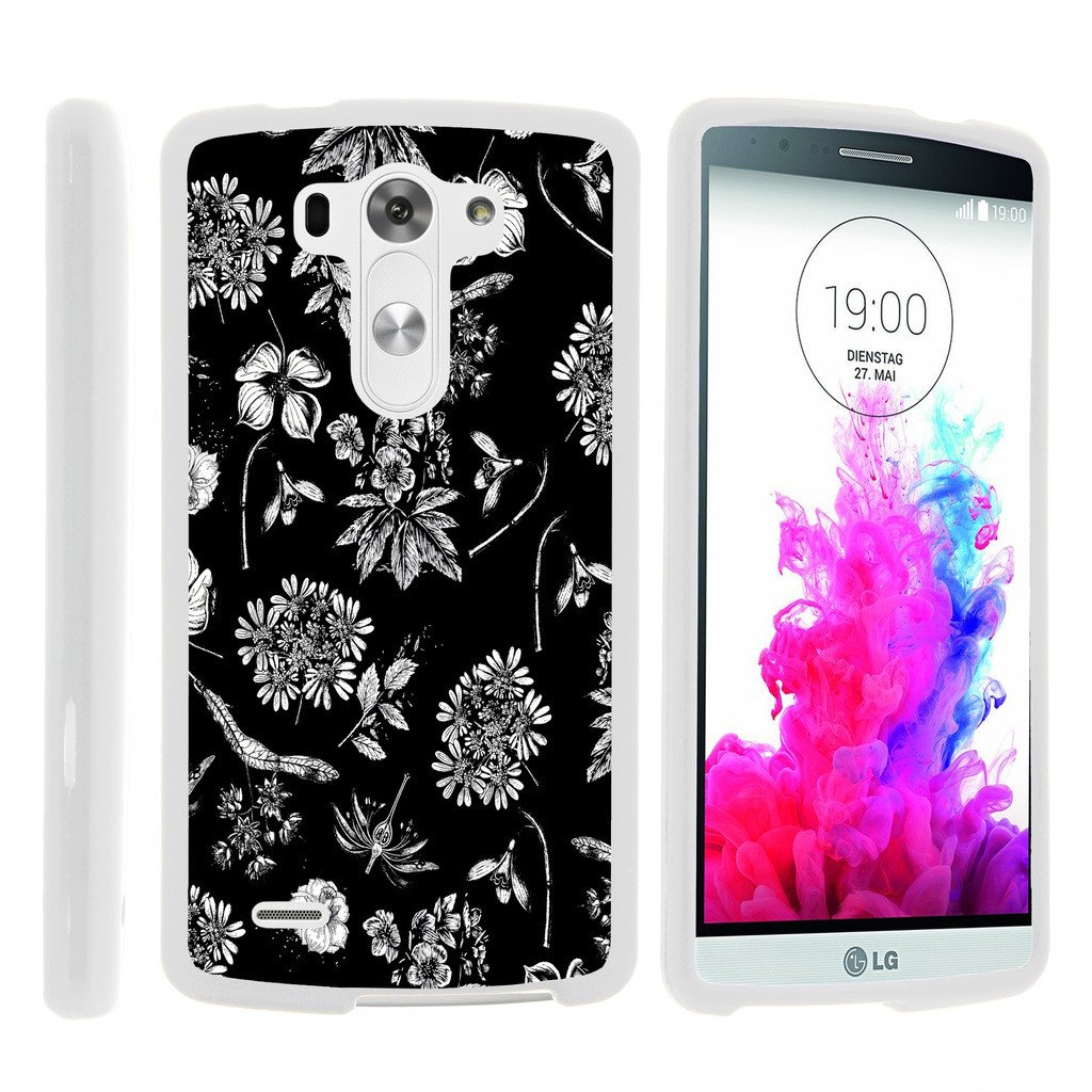 LG G3 D850, LS990, VS985, [SNAP SHELL][White] 2 Piece Snap On Rubberized Hard White Plastic Cell Phone Case with Exclusive Art - Black White Flowers
