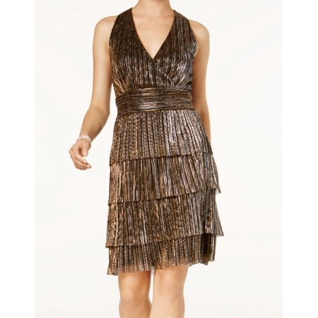 534fc34f2b Connected Apparel NEW Gold Bronze Tiered Pleated V-Neck 12 Shift Dress