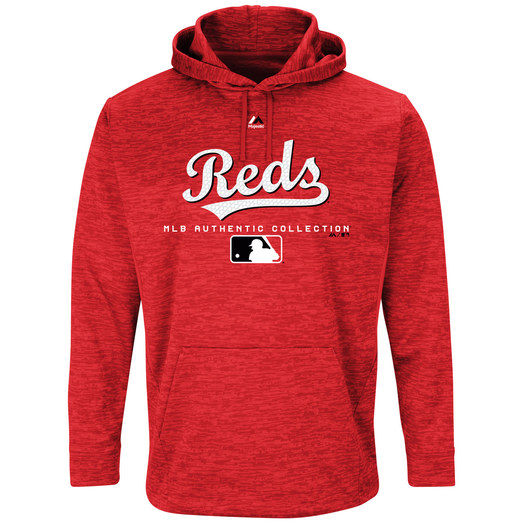 Cincinnati Reds Majestic Authentic Collection Team Drive Ultra-Streak Fleece Pullover Hoodie - Red