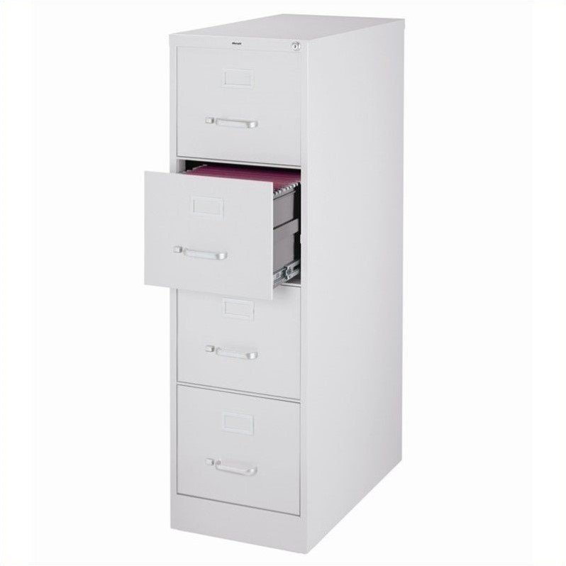 2500 Series 25-inch Deep 4-Drawer, Letter-Size Vertical File Cabinet, Light Gray