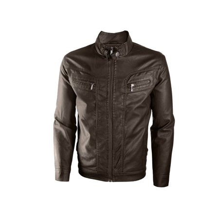 Alta Men's Motorcycle Faux Leather Jacket Quilted Lining Zip Up (Faux Leather Flight Jacket)