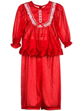 Laura Dare Girls Long Sleeve Traditional PJ Set in Solid Colors, 4 - 14