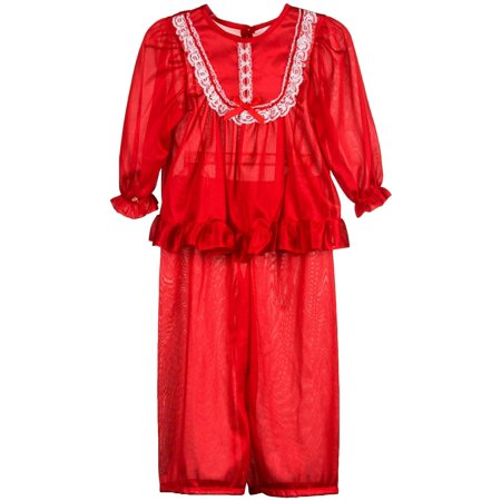 Girls In Pj (Laura Dare Girls Long Sleeve Traditional PJ Set in Solid Colors, 4 -)