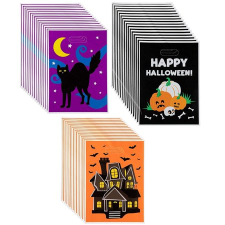 Halloween Goody Bags For School (Party Gift Bags - 48-Pack Plastic Treat Bags, Halloween Party Supplies, Party Favor Bags, Goody Bags for Kids, 3 Designs, 13.6 x 9.8)