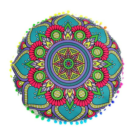 Large Round Mandala Meditation Floor Pillows Case Indian Tapestry Bohemian ()