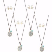 """Necklace & Earring Set-Matthew 19:26-Wax Cord w/Turquoise Bead (Up To 20"""")"""
