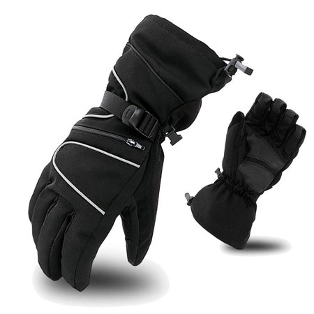 (Ski Gloves,iClover Mens Waterproof Skiing Snowboard Gloves Winter Warm Thermal Insulation Mittens with Wrist Leashes & Non-Slip Palms & Zipper Pocket for Snowboarding Climbing Hiking Cycling - Black)