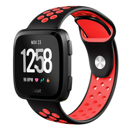 Great Ventilation - Mignova Fitbit Versa Bands for Women Men Small Large, Soft Silicone Sport Strap Replacement with Ventilation Holes for Fitbit Versa Fitness Smart Watch-Black/Red