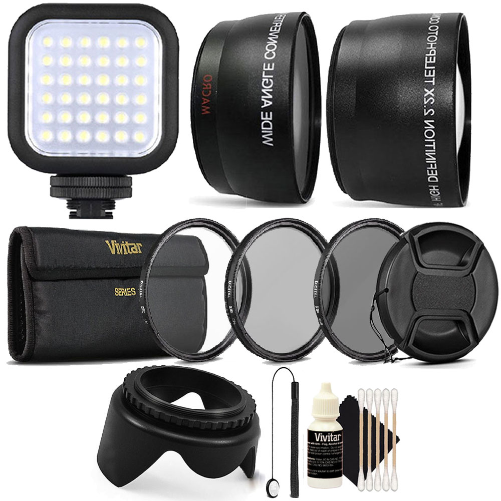 55mm Complete Professional Lens Accessory KitwithLED Light for Nikon D5500, D5300, D3300, D3400