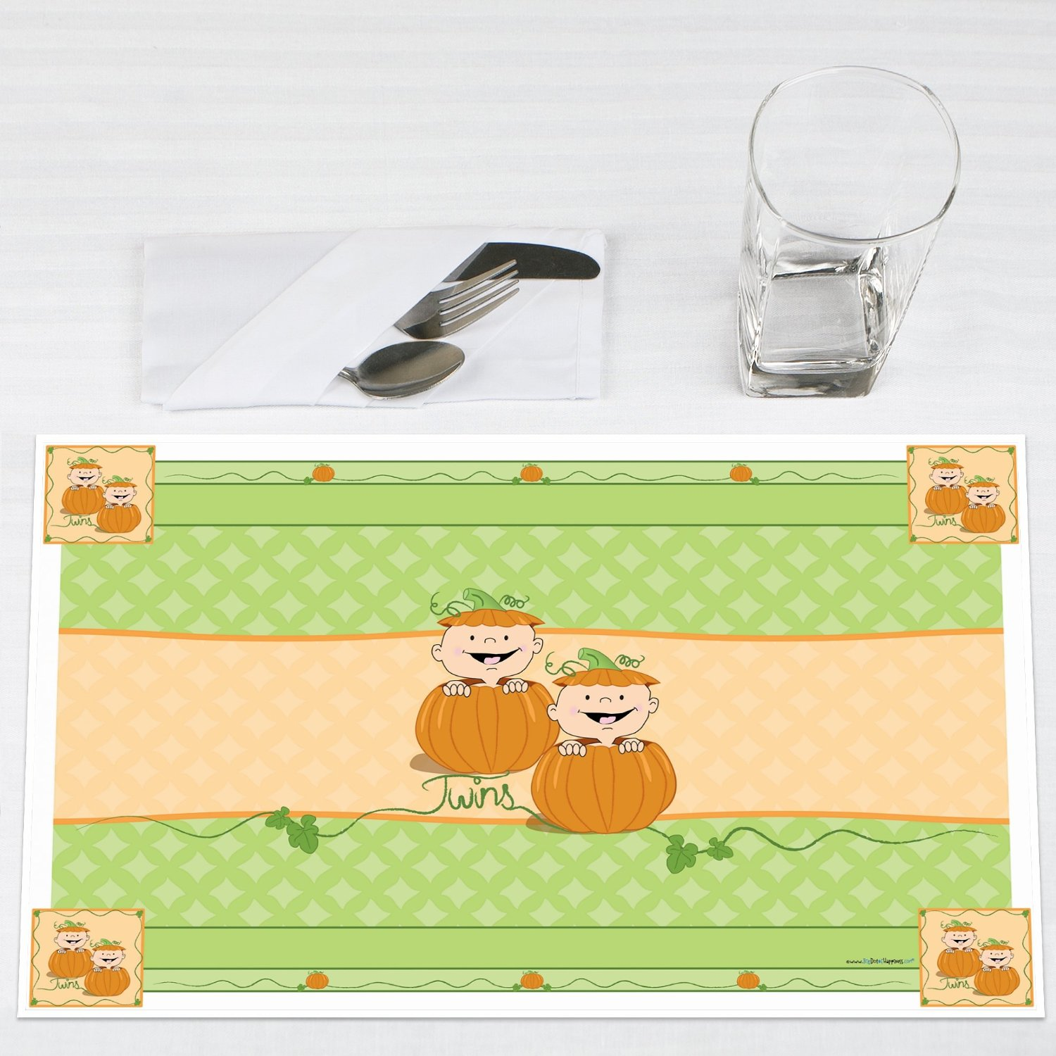 Twin Little Pumpkins Caucasian Party Placemats Set of 12 by Big Dot of Happiness, LLC