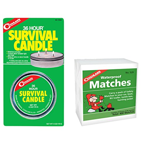 Click here to buy Coghlans 36 Hour Survival Candle 6 oz & Waterproof Matches 10 pack.