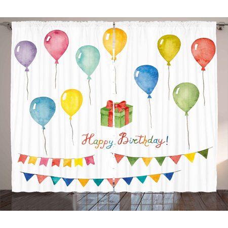 Birthday Curtains 2 Panels Set, Watercolor Set for Celebration Flags Surprise Box Balloons and Happy Best Wishes, Window Drapes for Living Room Bedroom, 108W X 108L Inches, Multicolor, by