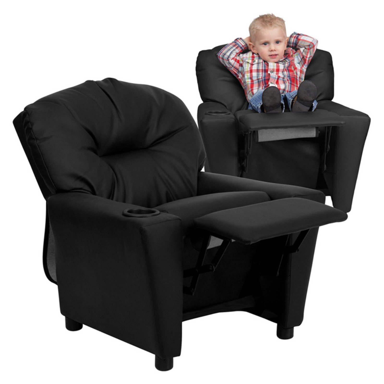 Flash Furniture Kidsu0027 Recliner with Cup Holder Black Leather  sc 1 st  Walmart & Flash Furniture Kidsu0027 Recliner with Cup Holder Black Leather ... islam-shia.org