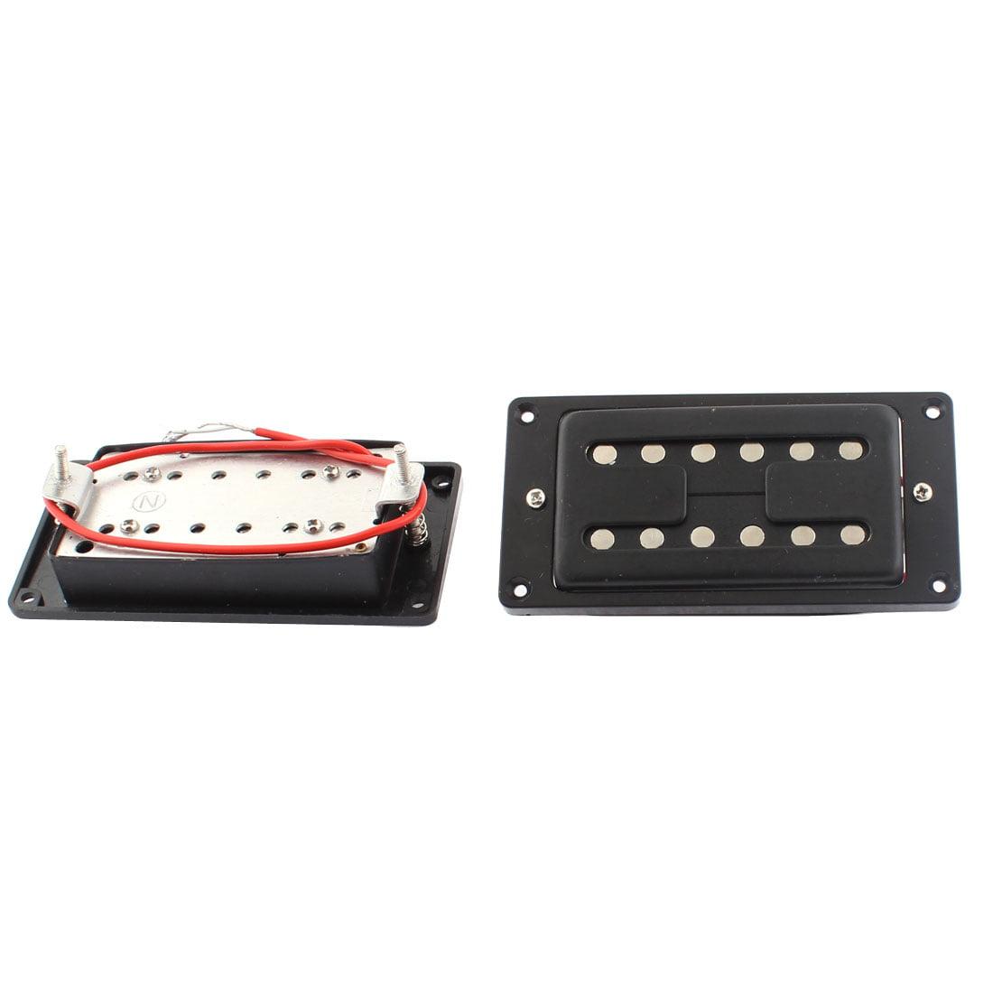 Electric Guitar LP Style Neck Bridge Double Row Humbucker Pickup Black 2pcs by