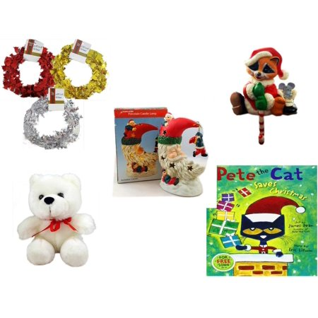 Christmas Fun Gift Bundle [5 Piece] - Brite Star Red, Silver, Gold Foil Garland 2.5' Ft. Ea. - Raccoon Santa Small Stocking Hanger - A Treasury of Gifts Santa Moon Porcelain Candle Lamp - Soft & Cud (Garland Hanger)