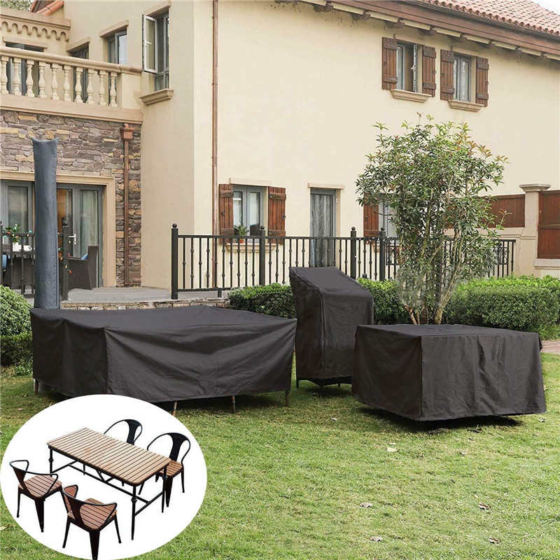 Heavy-Duty 210D Oxford Outdoor Cover Set for Table and Chairs Patio Furniture Cover Windproof and Anti-UV Garden Table Cover 135 x 135 x 74 cm Waterproof Garden Furniture Cover Universal Fit