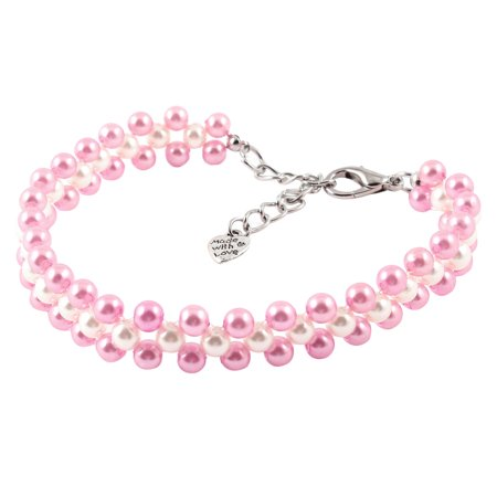Unique Bargains Three Rows Round Beads Linked Pet Dog Chihuahua Collar Necklace Pink White M