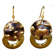 Global Crafts Handmade Make Your Mark Twice Brass Dangle Earrings (South Africa)