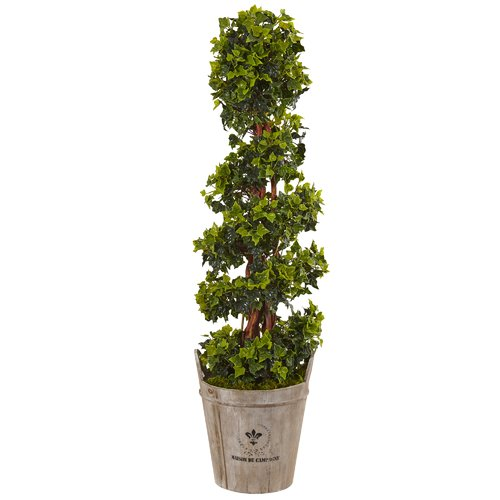 Fleur De Lis Living Artificial English Floor Ivy Topiary in Planter