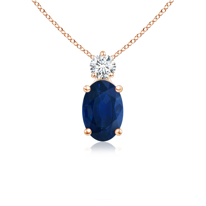 Angara Blue Sapphire Solitaire Necklace in 14K Rose Gold WJ6Itlb