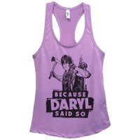 "Womens Basic Tank Top ""Because Daryl Said So"" Walking Dead Shirt Gift Large, Heather Grey"