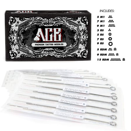 ACE Needles 50 Mixed Assorted Tattoo Needles 10 Sizes - Round Shader 3 5 7 9 11 15 RS