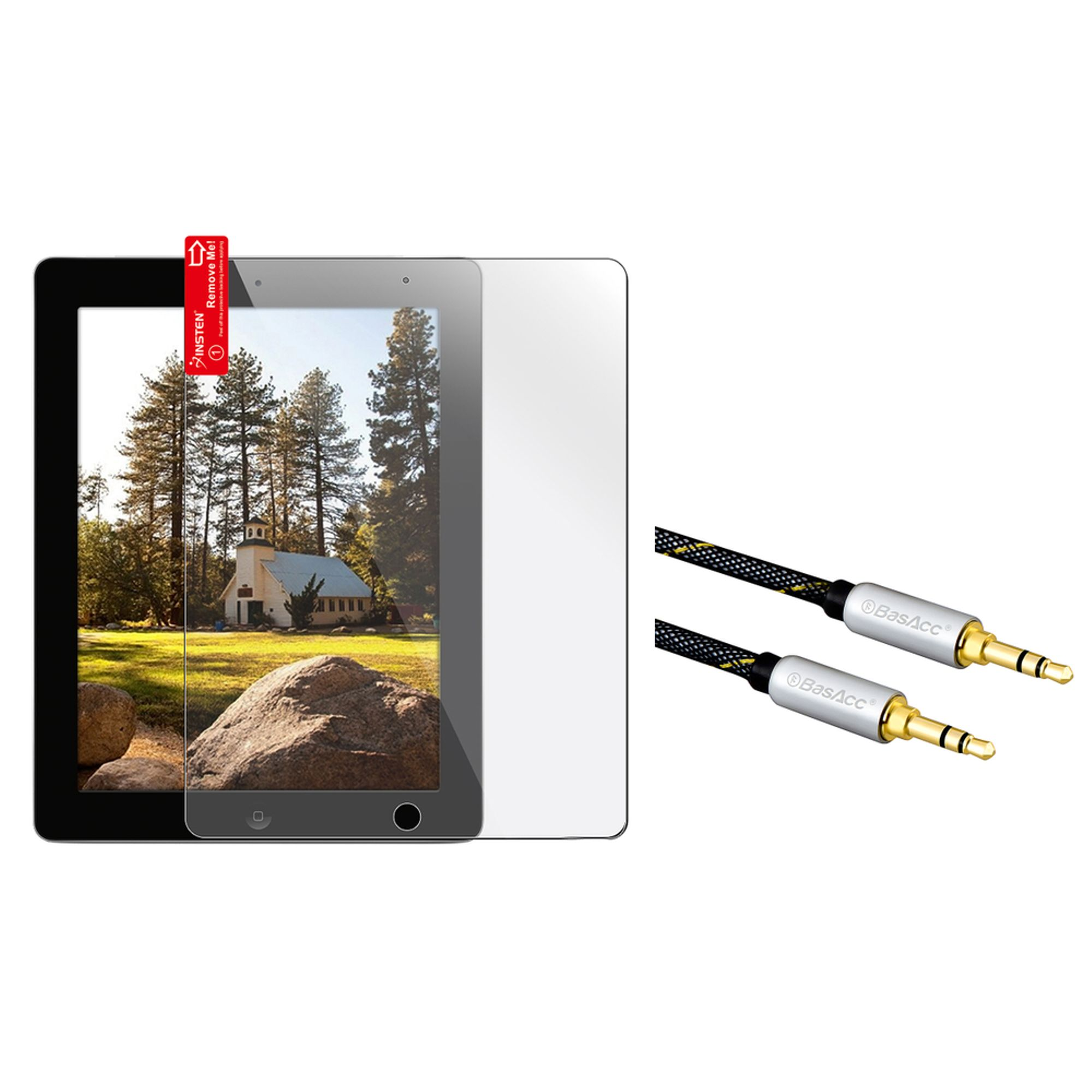 Insten Reusable Screen Protector For Apple iPad 2 / 3 / 4 (+3.5mm Aux Auxiliary Audio Stereo Extension M/M Cable) (2-in-1 Accessory Bundle)