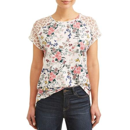 Lace Neckline Short (Women's Short Sleeve Lace Shoulder Printed T-Shirt )
