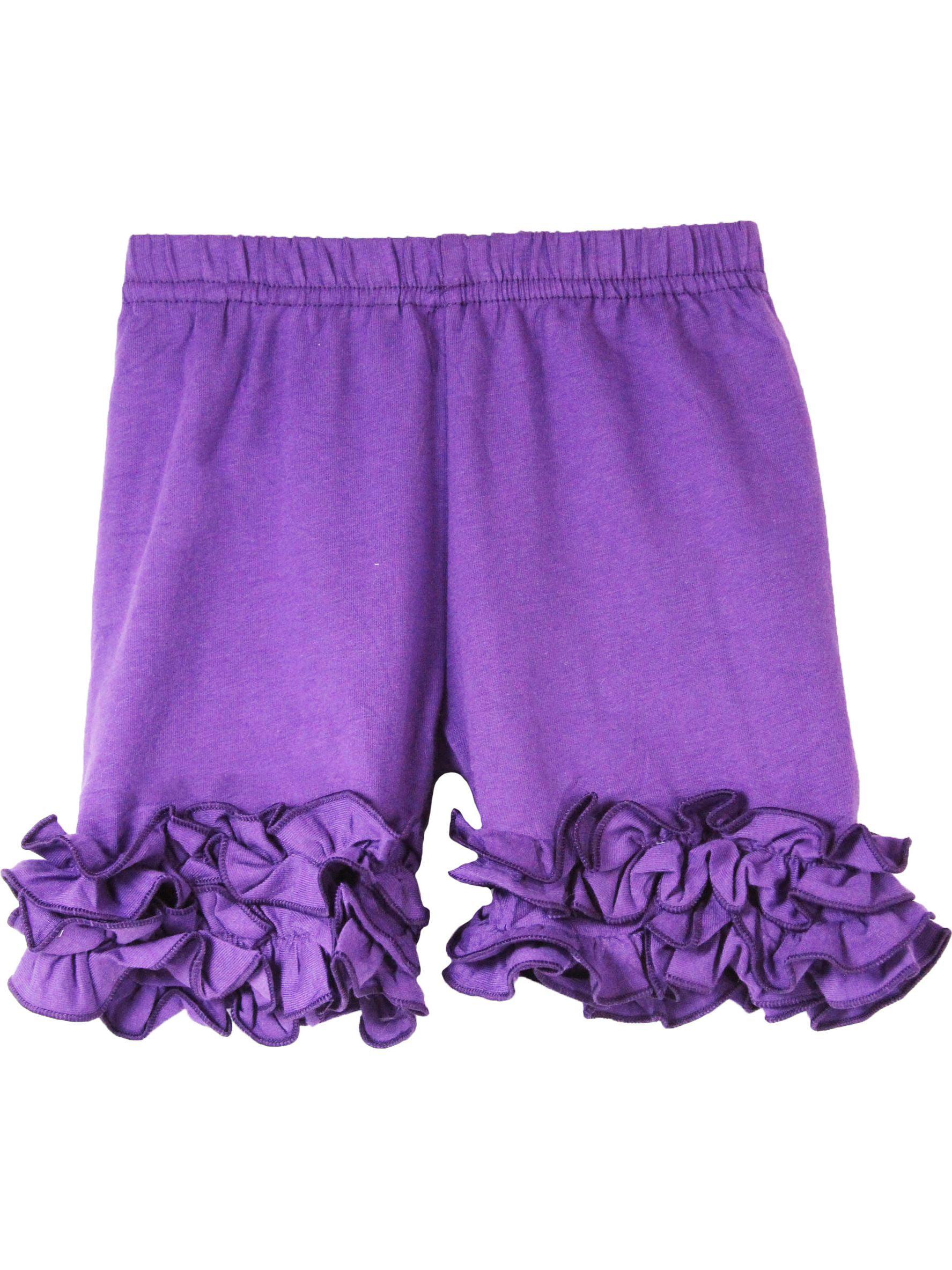 Girls Purple Elastic Waist Ruffle Bottom Icing Boutique Shorts