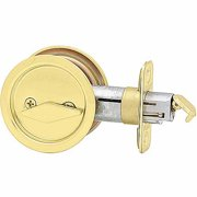 Kwikset 93350-023 Polished Brass UltraMax Security Round Privacy Deadbolt
