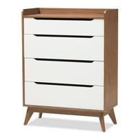 Baxton Studio Brighton White and Walnut Wood 4-Drawer Storage Chest