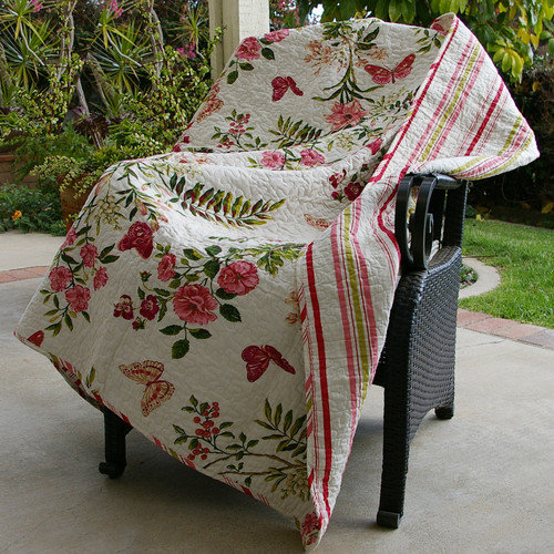 Greenland Home Fashions Butterfly Quilted Cotton Throw Blanket