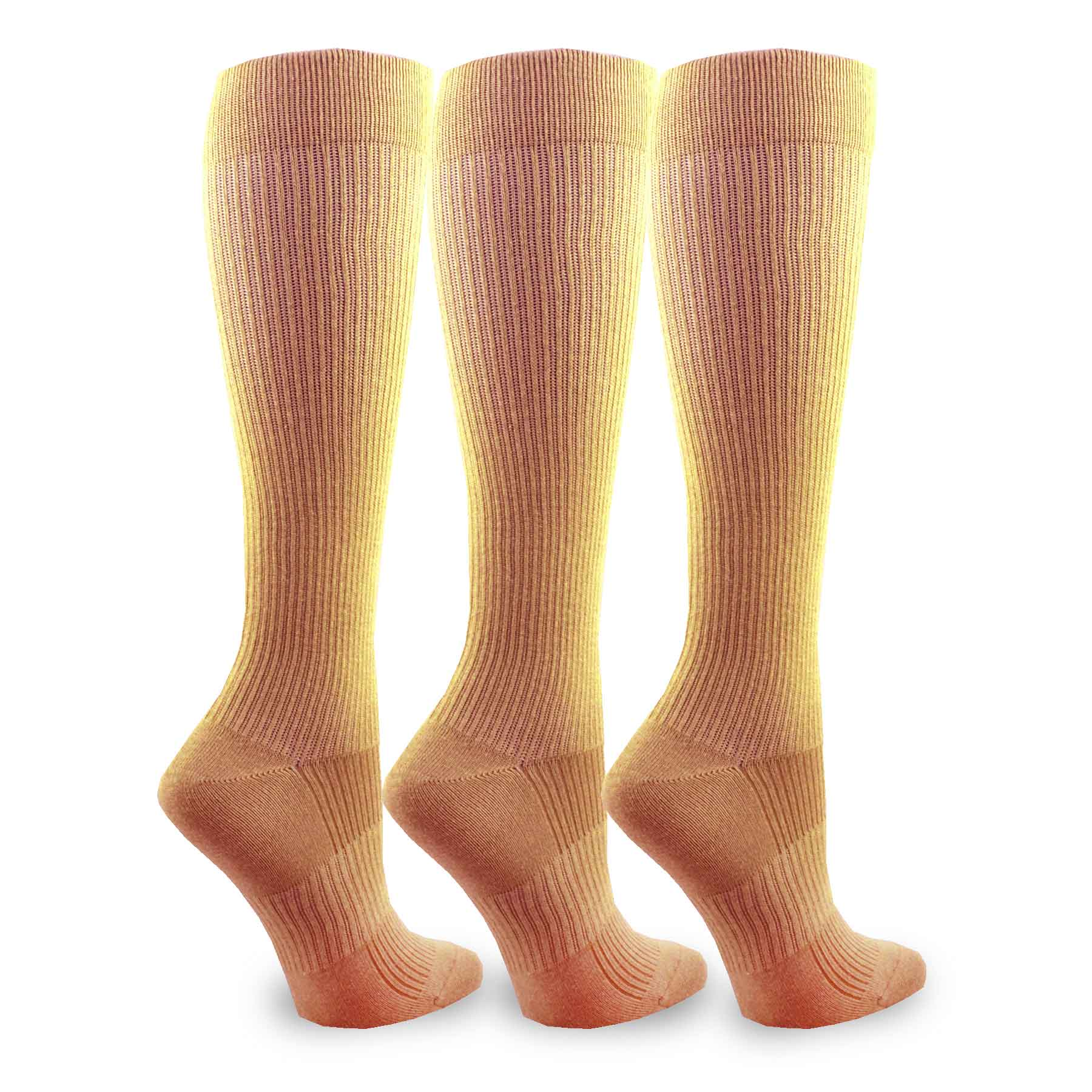 TeeHee Compression 3-pk Knee High Sock for Women, Taupe